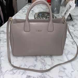 Light Grey Furla tote with crossbody strap